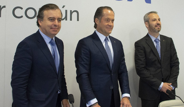 Francisco Botas, Juan Carlos Escotet y Alberto de Francisco.